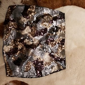 Express Lined Gold/Silver/Black Glitzy Skirt